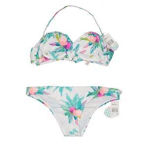 NWT Raisins White Floral Bandeau Bikini